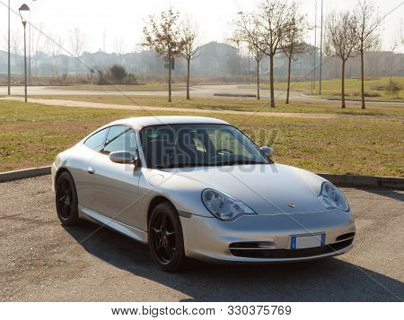 Bologna, Italy - February 6, 2019: Side View Of A Grey Turbo Sport Car, Porsche Carrera 996 4 In A C