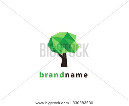 Geometric Tree Logo Design- White Background Illustartion Design