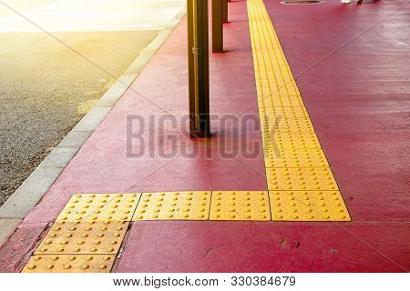 Rough Yellow Dot Tactile Paving For Blind Handicap On Tiles Pathway In Japan, Walkway For Blindness