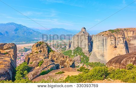 View of the rocks of Meteora, Thessaly, Greece -  Greek Lanscape