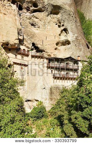 Monastery in the cliff in Meteora near Kastraki village, Greece