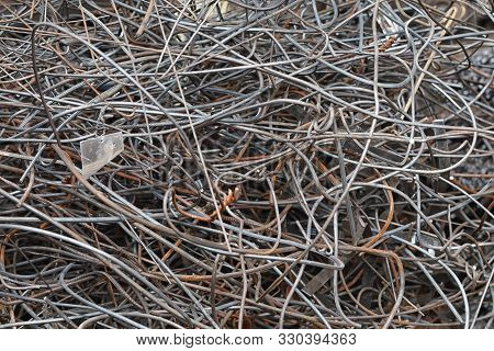 Metal Tangled Wire Texture. Closeup Of Lots Metal Wire.