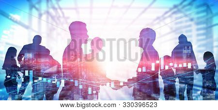 Double Exposure Image Of Many Business People Conference Group Meeting On City Office Building In Ba
