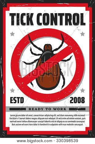 Pest Control Service Vector Design Of Tick Insect Warning Or Forbidden Sign. Stop Mite Parasites, Ly