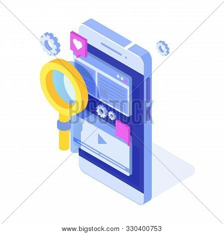 Web Seo Optimization Illustration Concept Isometric. Landing Page Template. Sticker For Web Banner,