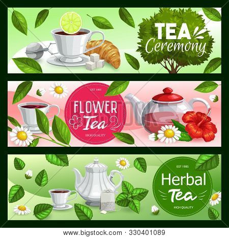 Tea Leaves With Cups And Teapots Of Black, Green And Herbal Beverage Vector Banners. Tea Bags, Mugs
