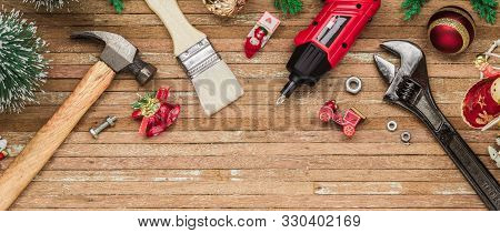 Merry Christmas And Happy New Years Handy Constrcution Tools Web Banner Background Concept. Handy Ho