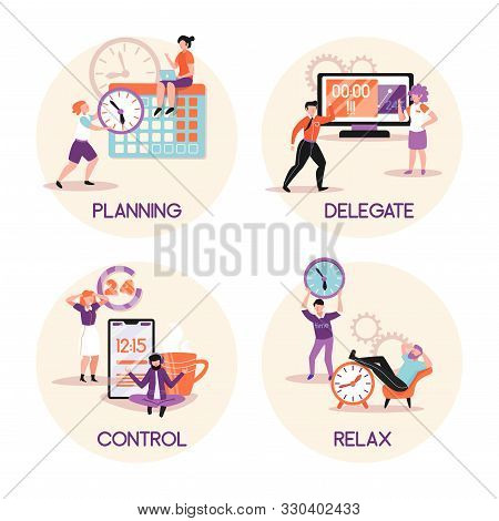 Time Management Concept 4 Flat Compositions With Tasks Planing Delegating Responsibilities Relaxing