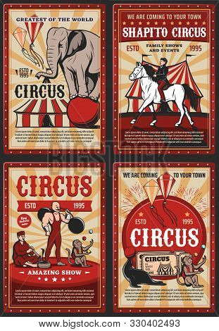 Circus And Carnival Vintage Poster With Retro Big Top Tent, Acrobats And Animals On Cirque Arena. Ve