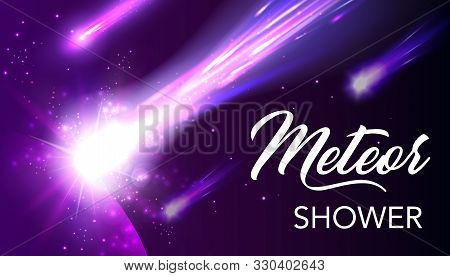Meteor Shower In Space With Universe Planet Vector Design. Shooting Stars, Comets Or Asteroids With