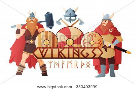 Vikings Stylish Lettering Board With  Legendary Scandinavian Warriors In Traditional Clothing Flat C