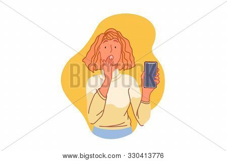 Smartphone Trouble, Technical Problem Concept. Terrified Woman Holding Mobile Phone, Surprised Young