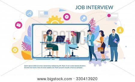 Online Job Interview Service Trendy Flat Webpage. Cartoon Female Hr Manager Interviewing Candidate O