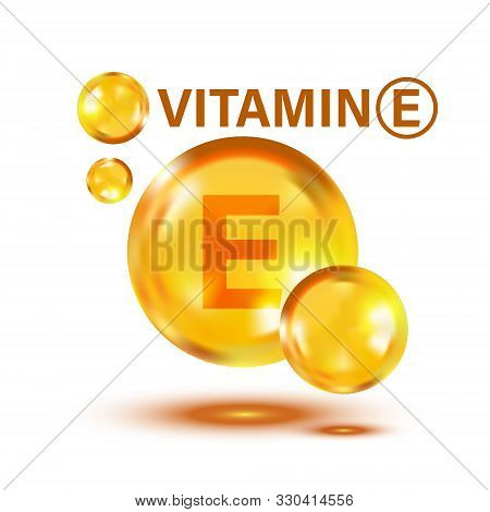 Vitamin E Icon In Flat Style. Pill Capcule Vector Illustration On White Isolated Background. Skincar