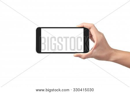 Man Hand Holding Smartphone Device And Touching Screen