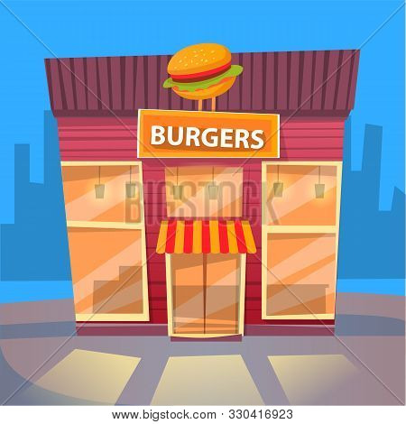 Burger House In City, Night Cityscape With Exterior Of Building Selling Fast Food And Snacks. Eatery