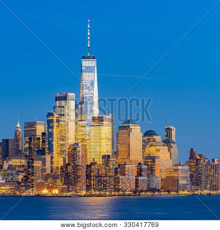 Aerial view of New York city Manhattan skyline cityscape at dusk from New Jersey.