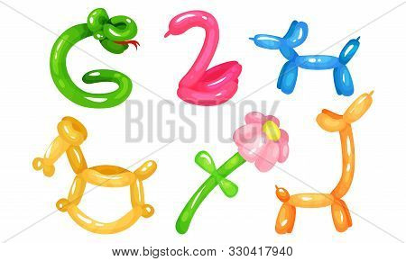 Balloon Twisting Vector Set. Birthday Party Entertainment Concept.