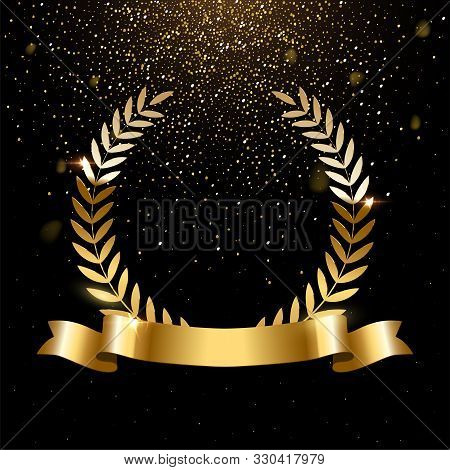 Realistic Gold Laurel Wreath With Text Space. Premium Insignia, Traditional Victory Symbol On Black