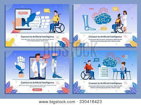 Flat Banner Set Present Ai Technology. Bionic Body Parts. Mobile App. Rehabilitation And Help. Disab