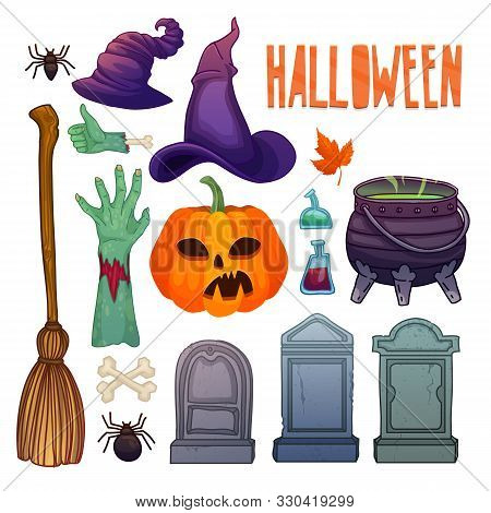 Cartoon Halloween Set. Scarry Illustration For Halloween Party. Spider, Witch Hat, Pumpkin Jack And