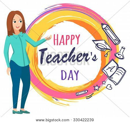 Happy Teacher Day Postcard Decorated By Studying Objects. Greeting Card With Tutor, Pen And Notebook