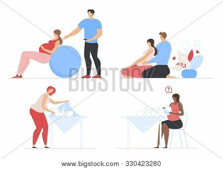 Pregnancy, Maternity And Parenting Scenes Flat Set. Mother Caring For Infant Newborn Baby Bundle. Pr