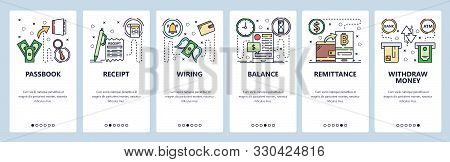 Mobile App Onboarding Screens. Digital Currency Wallet, Money Transfer. Passbook, Atm Withdraw, Wire