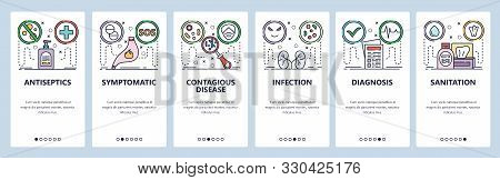 Mobile App Onboarding Screens. Stomach Pain, Health Problems, Disease, Kidney Infection, Antiseptic.