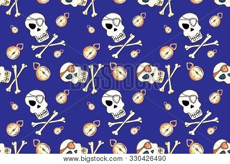 Jolly Roger With Eyepatch Logo Template. Evil Skull Watercolor Illustration. Seamless Pattern On Blu