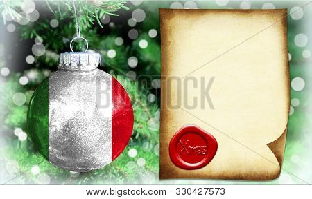 Christmas And New Year Background With A Flag Of Italy. There Is A Place For Your Text In The Photo