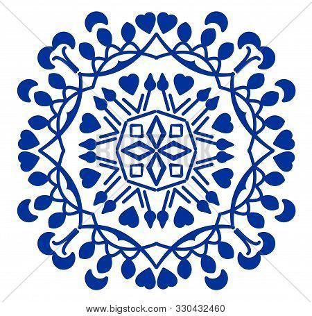 Vintage Blue Cobalt Ceramics Design, Antique Traditional Folklore Circle Patterns In Oriental Style