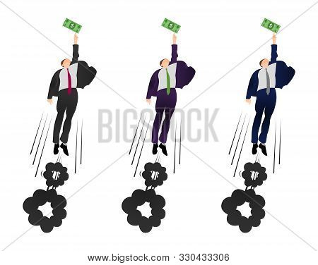 Illustration Of  Vector Flat Businessman Trying To Get A Dollar. Being Motivated By Money. Earning M