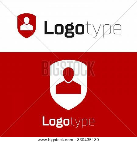 poster of Red User protection icon isolated on white background. Secure user login, password protected, personal data protection, authentication icon. Logo design template element. Vector Illustration