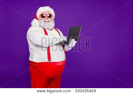 Profile Side View Portrait Of His He Nice Confident Cheerful Cheery Fat Thick Bearded Santa Holding