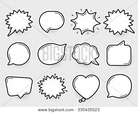 Comic Speech Bubbles Vector. Thinking And Speaking Clouds. Retro Bubbles Shapes. Balloons With Halft