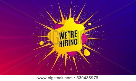 Were Hiring Symbol. Dynamic Liquid Shape. Recruitment Agency Sign. Hire Employees Symbol. Geometric