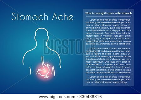 Stomach Ache Linear Icon On Blue Background. Vector Illustration Of Young Man With Red Spot On His T