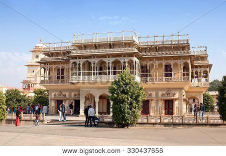 Jaipur, India - January 3, 2019: Tourists Walking Along Mubarak Mahal At The City Palace, A Palace C