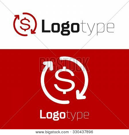 Red Return Of Investment Icon Isolated On White Background. Money Convert Icon. Refund Sign. Dollar