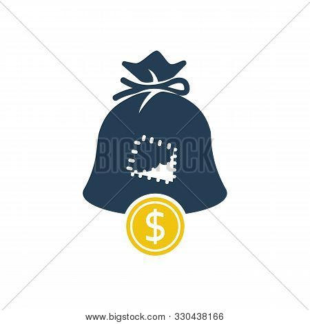 Hole In Bag Glyph Icon. Silhouette Coin Falls Out Of Bag. Vector Illustration Flat Design. Isolated