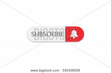 Subscribe Banner Template. Red Subscribe Button With White Bell Arrow Sign