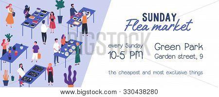 Flea Market Flyer Vector Template. Rag Fair Invitation, Event Announcement. Swap Meet, Junk Bazaar F
