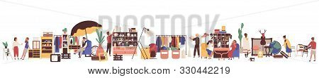 Flea Market Flat Vector Illustration. Customers And Sellers Cartoon Characters. Clothing And Vintage