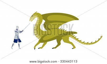 Knight Fighting With Dragon Flat Vector Illustration. Brave Warrior With Sword Struggling With Monst