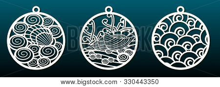 Set Of Laser Cut Templates. Christmas Balls, Abstract Pattern In Underwater Design. Metal Cutting, P