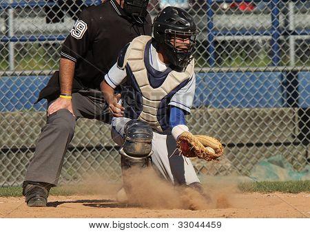 Baseball Catcher in Action