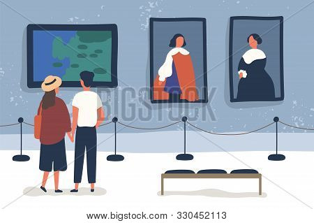 Couple Visiting Art Gallery, Museum Flat Vector Illustration. People Viewing Showpieces At Exhibitio