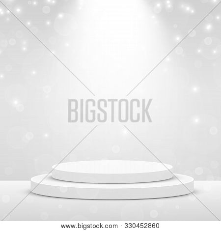 Stage Podium Scene For Award Ceremony Illuminated With Spotlight. Award Ceremony Concept. Stage Back