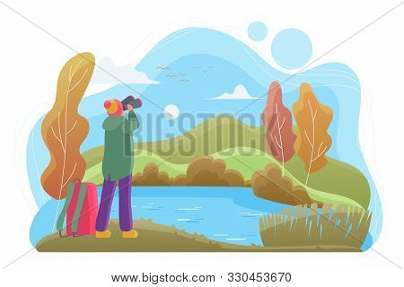 Birdwatcher With Binoculars Flat Vector Illustration. Nature Lover Cartoon Character. Man Looking At